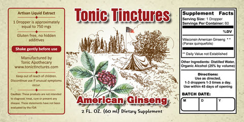 Tonic Tinctures American Ginseng Liquid Extract Supplement Label