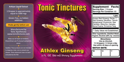 Tonic Tinctures Athlex Ginseng for Women Supplement Label