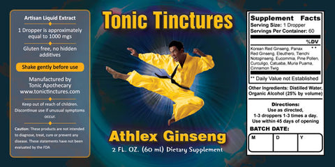 Tonic Tinctures Athlex Ginseng for Men Liquid Extract Supplement Label