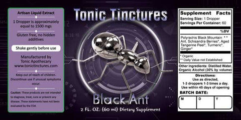 Tonic Tinctures Black Ant Liquid Extract Supplement Label
