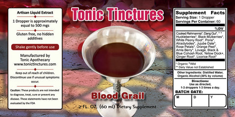 Tonic Tinctures Blood Grail Liquid Extract Supplement Label