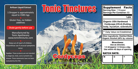 Tonic Tinctures Cordyceps Mushroom Supplement Label