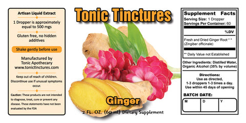 Tonic Tinctures Ginger Liquid Extract Supplement Label