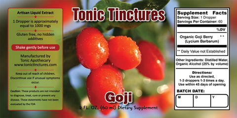 Tonic Tinctures Goji Supplement Label