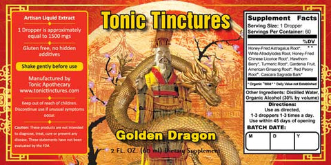 Tonic Tinctures Golden Dragon Supplement Label