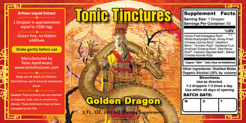 Tonic Tinctures Golden Dragon Liquid Extract Supplement Label
