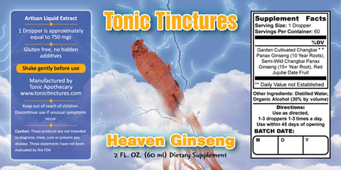 Tonic Tinctures Heaven Ginseng Liquid Extract Supplement Label