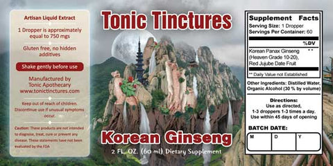 Tonic Tinctures Korean Ginseng Liquid Extract Supplement Label