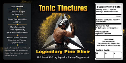 Tonic Tinctures  Legendary Tonic Elixir Powder Extract Supplement Label