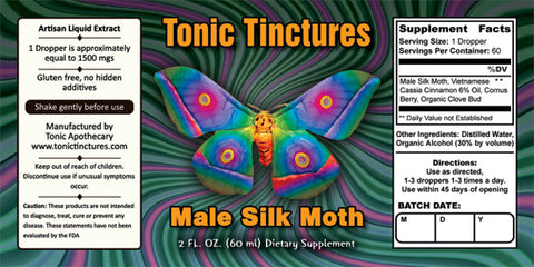 Tonic Tinctures Male Silk Moth Supplement Label