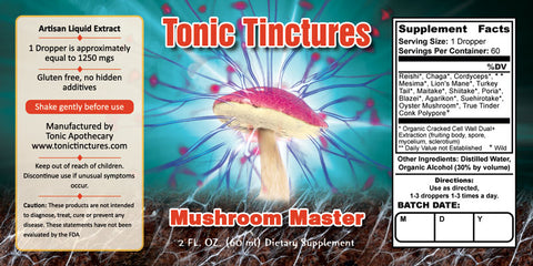 Tonic Tinctures Mushroom Master Supplement Label