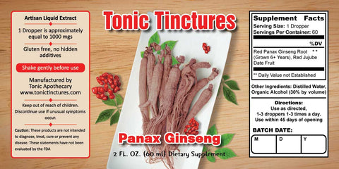 Tonic Tinctures Panax Red Ginseng Extract Supplement Label