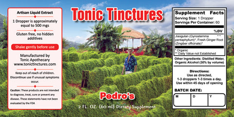 Tonic Tinctures Pedro's Liquid Extract Supplement Label