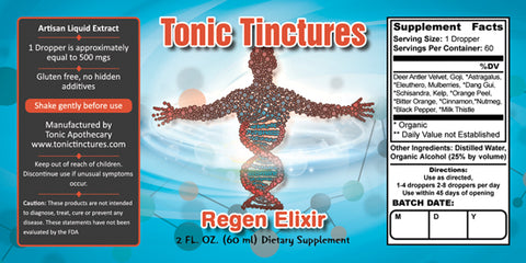 Tonic Tinctures Regen Elixir Supplement Label