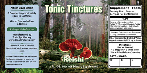 Tonic Tinctures Reishi Mushroom Supplement Label