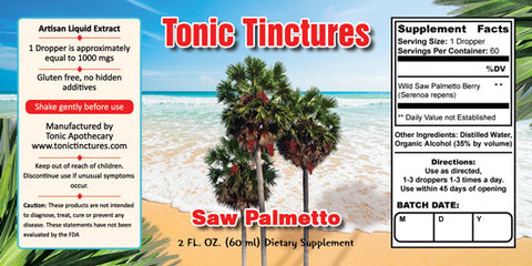 Tonic Tinctures Saw Palmetto Liquid Extract Supplement Label