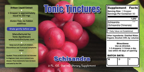 Tonic Tinctures Schisandra Liquid Extract Supplement Label
