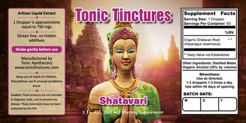 Tonic Tinctures Shatavari Liquid Extract Supplement Label