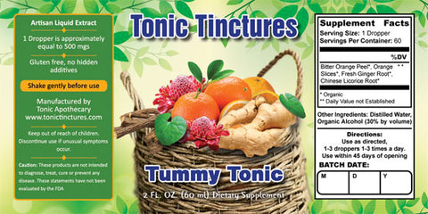 Tonic Tinctures Tummy Tonic Liquid Extract Supplement Label
