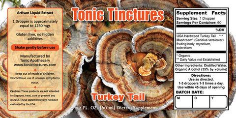 Tonic Tinctures Turkey Tail Liquid Extract Supplement Label