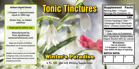 Tonic Tinctures Winter's Paradise Liquid Extract Supplement Label