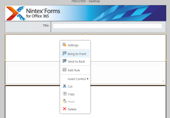 Nintex Form Bring to the Front