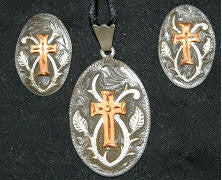 Copper Cross (229) Pendant & Earrings