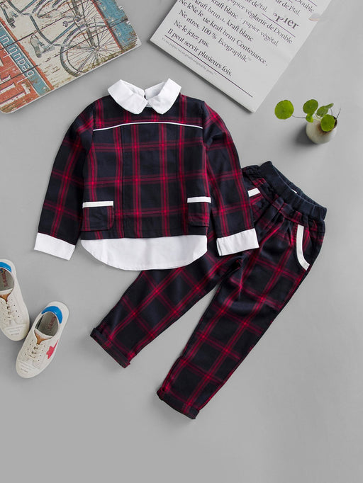 Boys Plaid Top With Pants