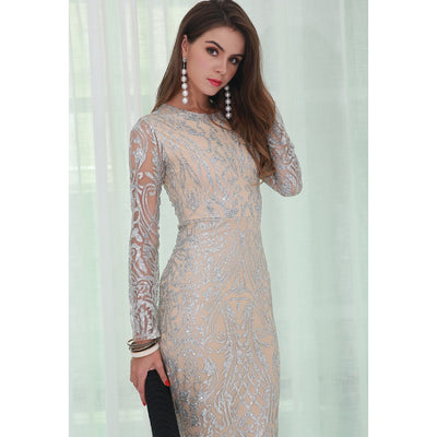 Silver Glitter Evening Dress - Alluforu
