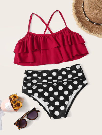 Girls Criss Cross Top With Polka Dot Bikini