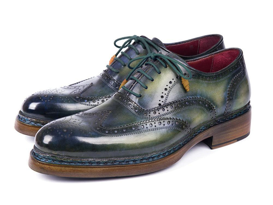 Paul Parkman Triple Leather Sole Wingtip Brogues Green & Blue (ID#0225TRP-GRN) - Alluforu