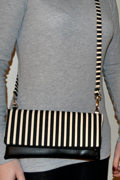 Joanne Cross Body Bag - Stripped Black & White with Black Vegan Leather