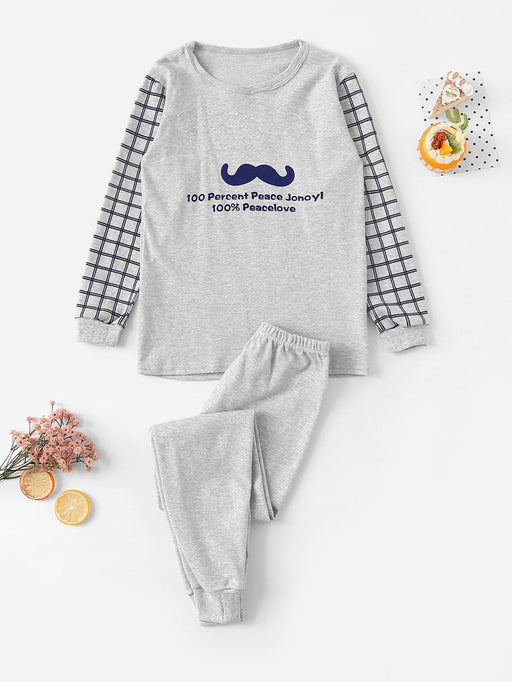 Boys Moustache & Letter Print Plaid Pajama Set - Alluforu