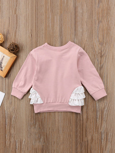 Toddler Girls Swan Print Ruffle Sweatshirt