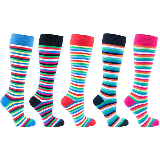 Women's 5-Pair Colorful Striped Design Knee High Socks - 6022 - Alluforu