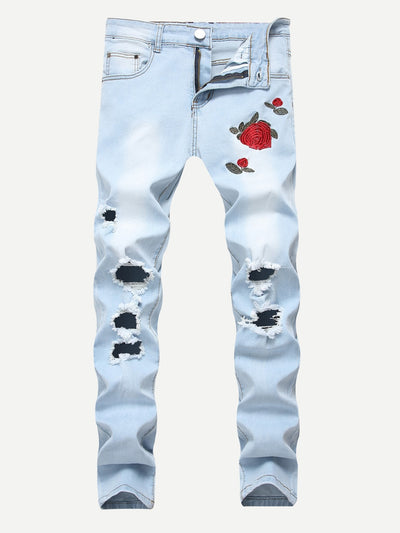 Men Rose Embroidery Skinny Destroyed Jeans