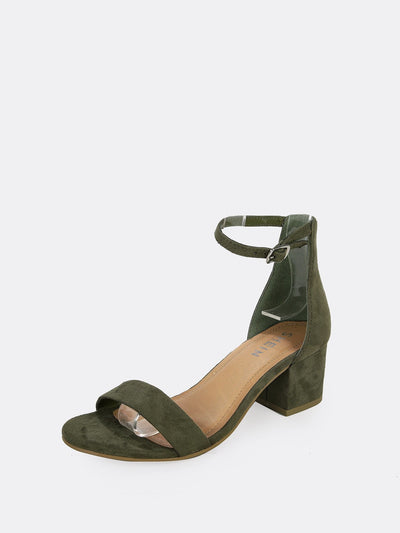 Vegan Suede Open Toe Ankle Strap Low Block Heels