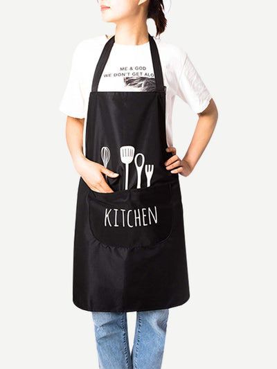 Shovel Print Apron With Pocket