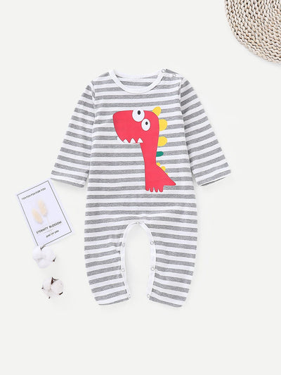 Baby Cartoon Print Striped Romper