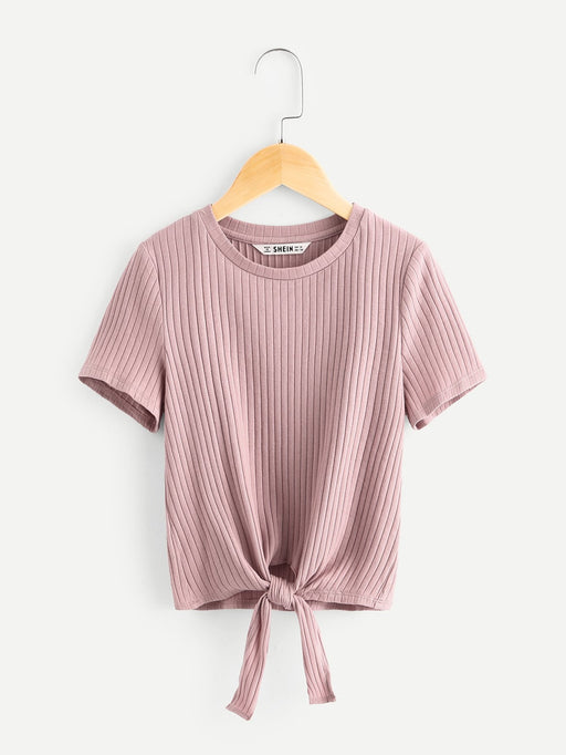 Girls Ribbed Knit Knot Hem Tee - Alluforu