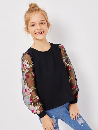 Girls Mesh Floral Embroidered Keyhole Back Top