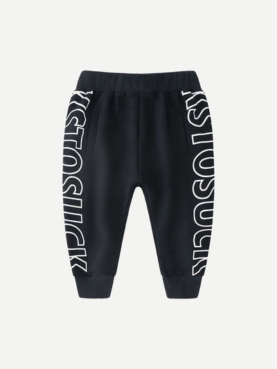 Boys Letter Print Drawstring Pants
