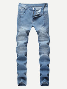 Men Washed Locomotive Pleats Jeans