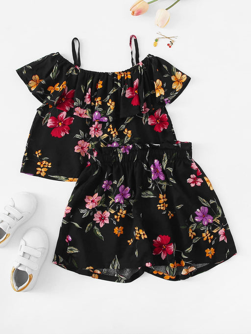Girls Cold Shoulder Floral Print Top & Shorts Set - Alluforu