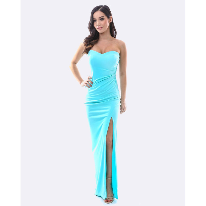 Strapless Evening Dress - Light Blue - Alluforu