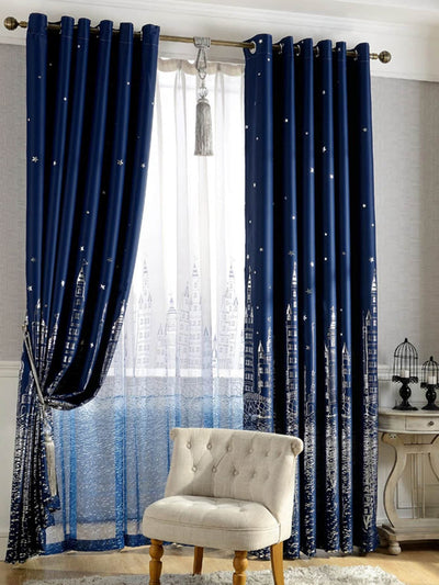 Castle Print Curtain 1pc