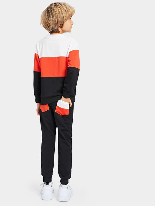Boys Letter Print Color Block Sweatshirt & Pants