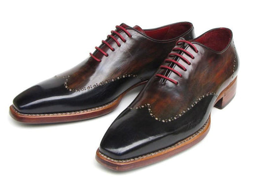 Paul Parkman Men's Wingtip Oxford Goodyear Welted Navy Red Black (ID#081-MIX) - Alluforu