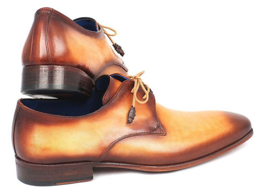 Paul Parkman Brown & Camel Hand-Painted Derby Shoes (ID#326-CMLBRW) - Alluforu