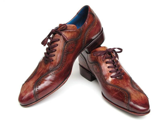 Paul Parkman Handmade Lace-Up Casual Shoes For Men Brown Hand-Painted (ID#84654-BRW) - Alluforu